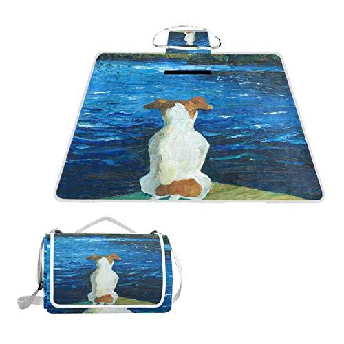 LORONA Zittende Hond Gemist De Boot Picknick Deken Handy Mat Mat Mildew Resistant en Waterdichte Camping Mat voor Picnics, Stranden, Wandelen, Reizen, RVing en Uitstapjes