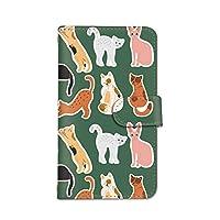 seventwo Xperia 1 SO-03L スマホケース 手帳型 携帯ケース カードホルダー エクスペリア ワン 【B.グリーン】 猫 子猫 animal_052