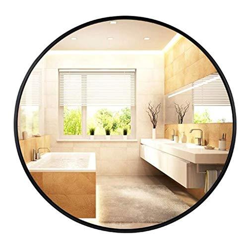 Lyn Wandspiegel, badkamerspiegel, ronde decoratieve spiegel, zwart metaal, ingelijst, schoonheid, scheerspiegel voor kleedkamer, slaapkamer