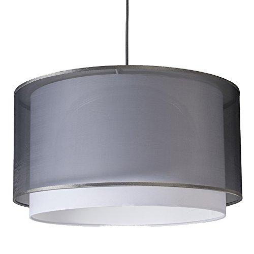 QAZQA Moderne Lampe suspendue moderne avec abat-jour noir/blanc 47/25 - Duo Plastique/Tissu Noir Rond E27 Max. 1 x 60 Watt/Luminaire/Lumiere/Éclairage/intérieur/Salon/Cuisine