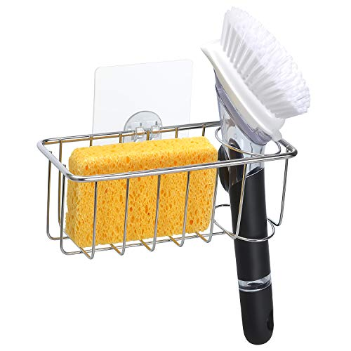 2-In-1 Adhesive Sponge Holder for Kitchen Sink, 304 Stainless Steel - No Falling