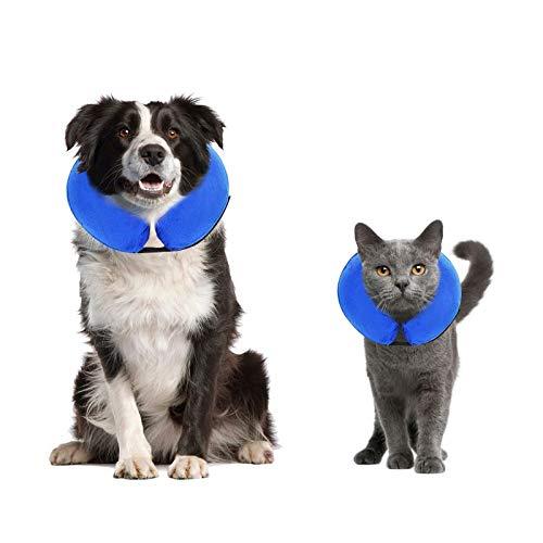 Collier de protection gonflable pour petits chiens et chats en convalescence post-chirurgicale, empêche les chiens de mordre et de se gratter, matériau doux, boucle réglable, bleu (M)