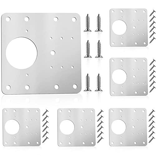 Placa de reparación de bisagras, 6 unidades, acero inoxidable, juego de reparación con tornillos de fijación para muebles de madera, cocina, armarios, muebles (6 piezas)