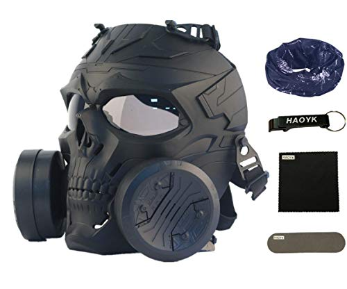 HAOYK Airsoft Paintball CS Game Mask Tactical Skull Mask with Double Fan (Grau, Schwarz)