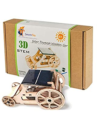 Wooden Solar Car Model Kits to Build - DIY Educational Science Kits for Kids Age 8-12. STEM Learning Building Toys-Creative Robotics Building STEM Kit for Boys and Girls, Teens and Adults from Smarts