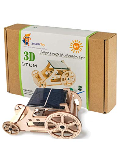 Wooden Solar Car Model Kits to Build - DIY Educational Science Kits for Kids Age 8-12. STEM Learning Building Toys- Creative Robotics Building STEM Kit for Boys and Girls, Teens and Adults with