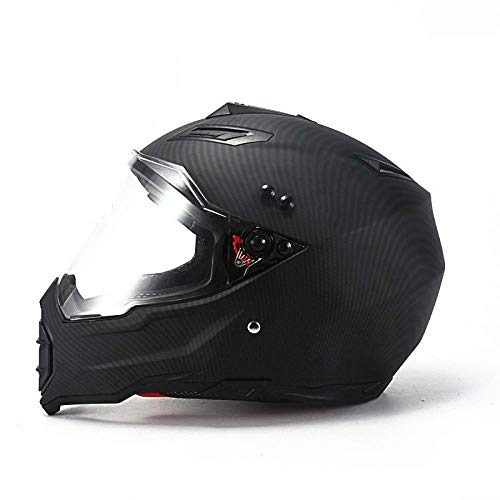 Claean-Acces-Home Fahrradhelm Licht Mate schwarz Dual Sport Offroad Motorradhelm Dirt Bike (M Blau) Vollgesicht-ABS-Materialkamerad_XL