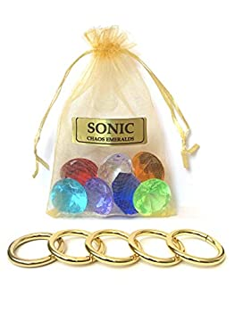 Sonic 7 Chaos Emeralds Gems & 5 Gold Power Rings - by AAA World
