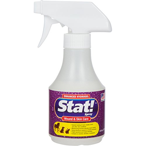 Stat! Spray Pet Wound & Skin Care with Enhanced Hydrogel; First-Aid Treatment for Dogs, Cats & Horses, Speeds Healing of Cuts, Bites, Scratches & Rashes; Soothing Relief Hot Spots, Itching & Chewing