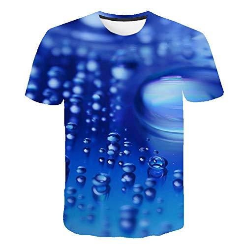 Camisetas De Impresión 3D,Mangas Cortas Impresas En 3D, Camiseta Con Patrón De Gota De Agua 3D Unisex Gráfico Impreso Unisex Suelto Y Cómoda Camiseta Infantil Joven Manga Corta Pareja Camisetas,