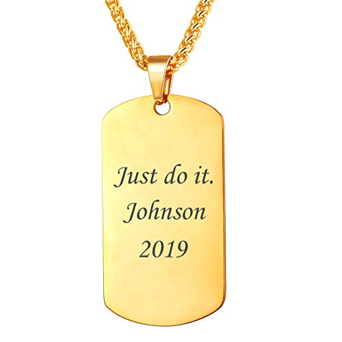 Men Personalized Dog Tags Necklace Message Engrave Pendant 18K Gold Plated Medical Alert/Military/Name/Date Engrave Tags with Chain 22 Inch