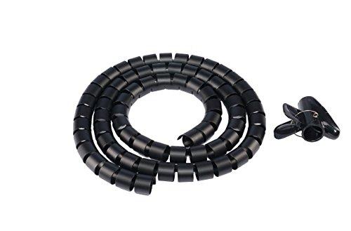 Preisvergleich Produktbild Hicab Kabelschlauch mit Einziehhilfe: 1, 50 m lang,  Durchmesser 25 mm,  Farbe Schwarz. Mit der beiliegenden Kabelschlauch Einfädelhilfe problemlos Kabel im Kabelschlauch Plastik verstecken!