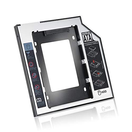 Libertroy Caddy de Unidad de Disco Duro SSD SSD Universal de Aluminio de 9,5 mm con 4 Tornillos para Adaptador de bahía óptica de CD/DVD-ROM - Negro