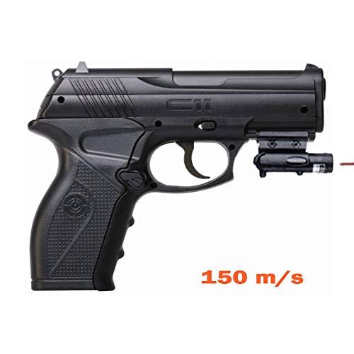 Crosman C11 + láser | Pistola de Aire comprimido (co2) y balines-perdigones de Acero BB's Cal 4.5mm <3,5J