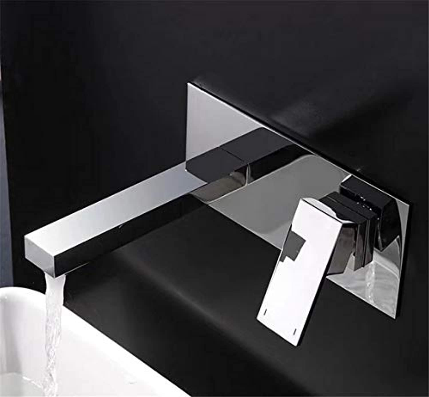 JONTON Faucet faucet faucet, one-piece pre-embedded single-handle basin???into the wall concealed hot and cold single handle mixed square