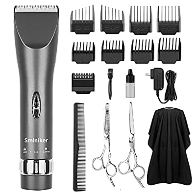 Sminiker Professional Hair Clippers Cordless Haircut Machine Barber Shavers Rechargeable Hair Cutting Tools with 2 Batteries, 4 Comb, Guides - Grey