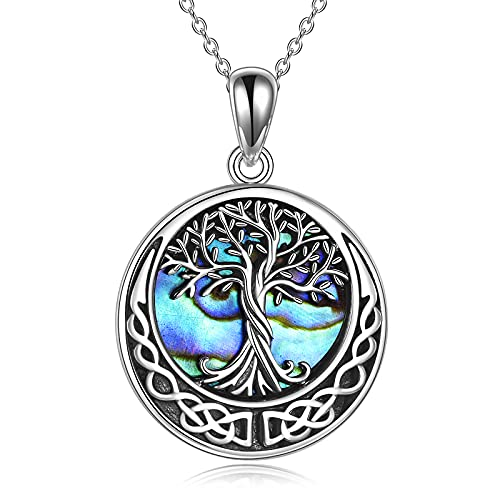 Tree of Life Necklace 925 Sterling Silver Abalone Shell Celtic Knot Pendant Necklace for Women Jewelry