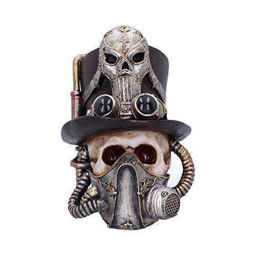 Nemesis nu Steampunk ademen gemakkelijk Venetiaanse masker schedel ornament, zilver, een maat
