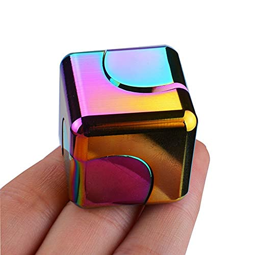 yzx Super Rainbow Spinner Spinning Stable Alloy Finger Spinning Cube Round Metal Genji Galaxy Stainless Steel Bearing High Speed Silent Spinning Toy for Men and Women Adult