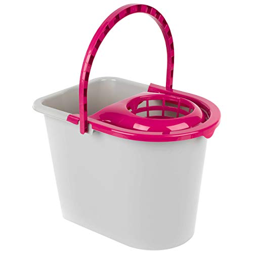 Cubo de fregona con escurridor y asa de transporte Kleeneze KL062598EU, 14 L, plástico, gris/rosa