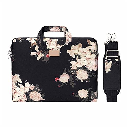 MWQCEW Bolsas para portátiles de Lona For Mujeres 13.3 14 15 15.6 Pulgadas For MacBook for Air 13 Portátil Bolsa de Hombro Messenger Bolso Maletín (Color : Black Syringa, Size : 13 13.3 Inch)