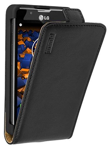 mumbi Echt Leder Flip Case kompatibel mit LG Optimus L7 II Hülle Leder Tasche Case Wallet, schwarz