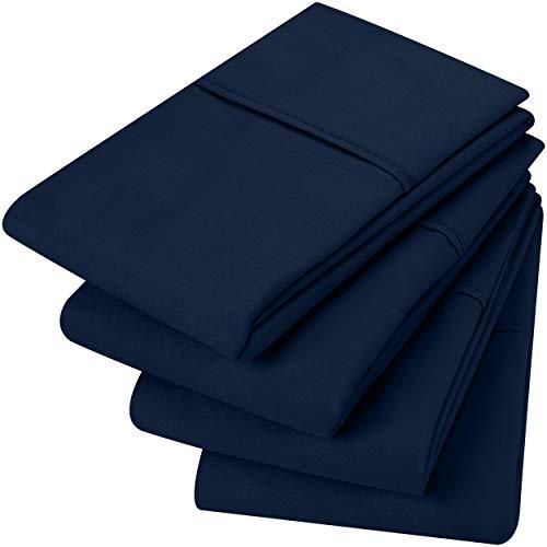 Utopia Bedding Fundas de Almohada (Juegos de 4) - Tejido de Microfibras Suaves de Fácil Cuidado - Resistente al Encogimiento y a la Desvanecimiento (Azul Marino, 50 x 75 cm)