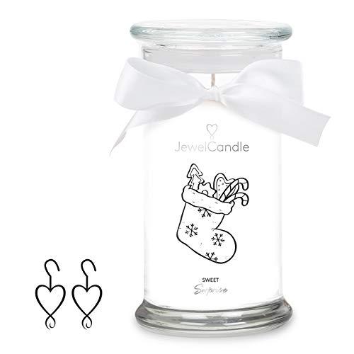 JewelCandle Sweet Surprise, giara grande (1020g, Durata 95-125h), bianco, candela profumata (Dolci) con gioiello in argento sterling 925-Orecchini