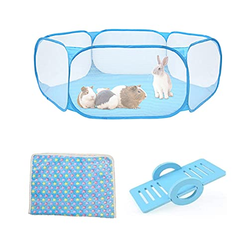 Hamiledyi Rat Fence,Mouse Playpen,Hamster Playpen with Mat,Breathable & Transparent Pet Playpen for Bunny,Rabbit,Chinchilla,Hedgehog,Guinea Pig,Foldable and Easy to Carry by BLSMU