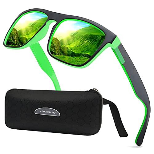 LEDING&BEST Sonnenbrille für Herren Damen Polarisierte/Radfahren Golfen Fahren Angeln Klettern Vintage-Brille Outdoor-Sportarten Strand Sonnenbrillen (A/Schwarzer Rand/Grün Verspiegelt)