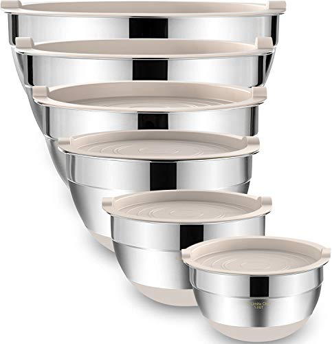 Mixing Bowls with Airtight Lids,6 piece Stainless Steel Metal Nesting Storage Bowls by Umite Chef, Non-Slip Bottoms Size 7, 3.5, 2.5, 2.0,1.5, 1QT, Great for Mixing & Serving (Khaki)
