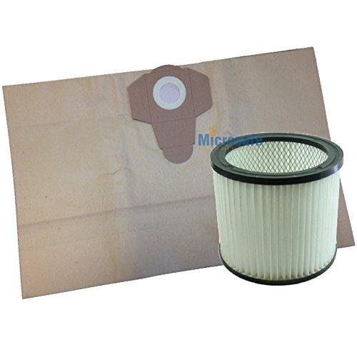 10 Staubsaugerbeutel + 1 Filter für Aldi Workzone Nass- und Trockensauger 25 Liter Volumen von Microsafe®