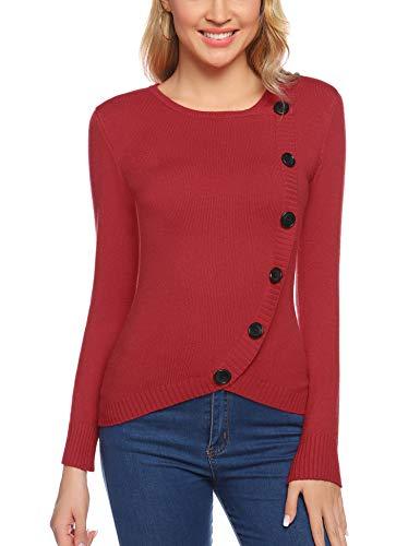 Aibrou Suéter Chaqueta de Punto Mujer,Cardigan Mujer de Cuello Redondo Mangas largas a suéter Tejido.