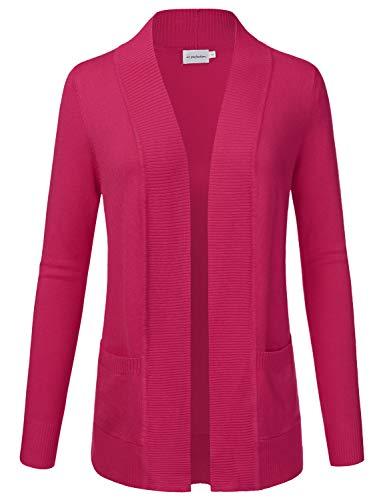 JJ Perfection Women's Open Front Knit Long Sleeve Pockets Sweater Cardigan Magenta XL