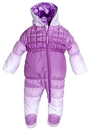Wippette Infant Newborn Baby Girls Down Alternative Hooded Snowsuit Pram Bunting - Purple (Size 3/6 Months)