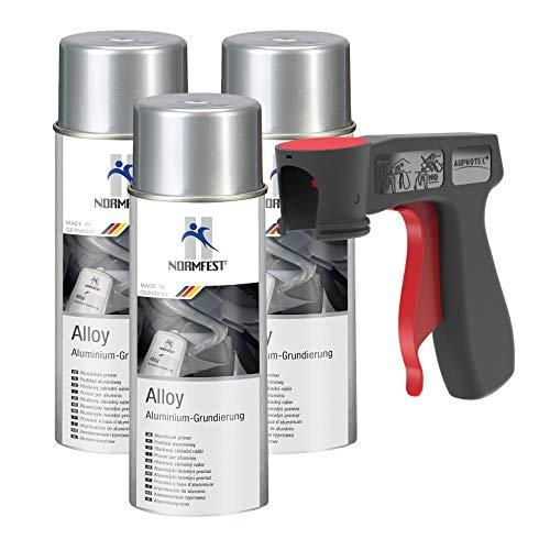 AUPROTEC Aluminium Grundierung Alloy Alu Grund Aluspray 600°C hitzebeständig Spray 3X 400ml + 1x Original Pistolengriff