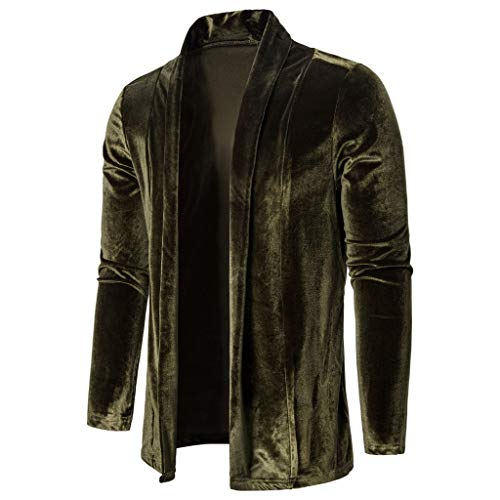 Herren Cardigan Männer Strickjacke Reine Farbe Gold Samt Trenchcoat Langarm Outwear CICIYONER