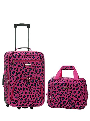 Rockland Fashion Softside Upright Luggage Set, Magenta Leopard, 2-Piece (14/20)