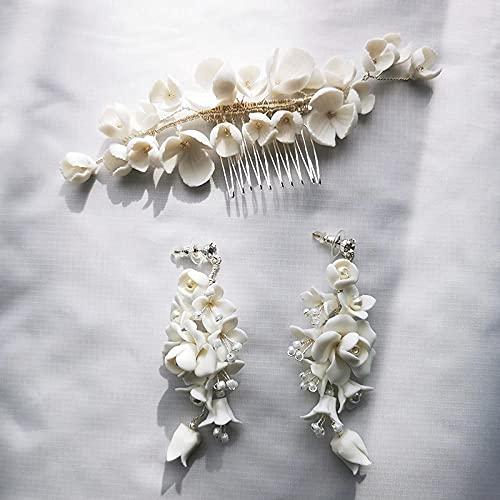 Peineta para novia con flor de porcelana blanca, hecha a mano, con perlas y pendientes