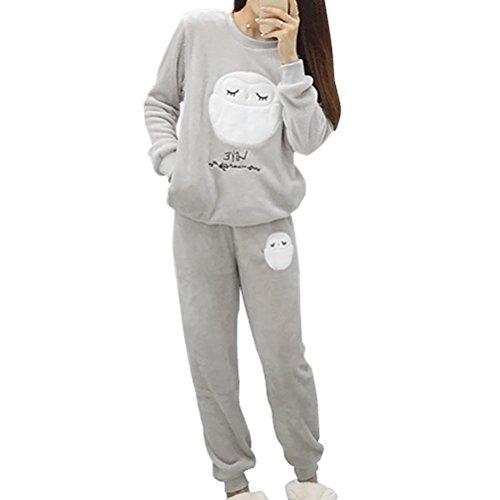 OULII Fleece de Invierno Pijamas de Dormir de Franela Pijama Casual Manga Larga camisón Talla L (Gris)