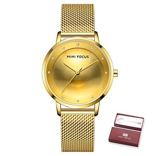 YIBOKANG Señoras Elegante Temperamento Escala de Diamantes de imitación 30 m Reloj a Prueba de Agua Estudiante Casual Simple Reloj de Moda de Acero Inoxidable Reloj de Regalo de cumpleaños para niña