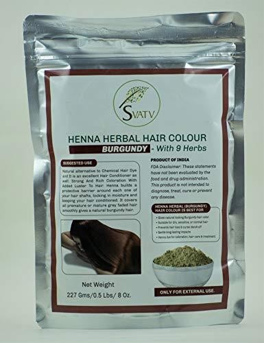 SVATV - Henna Haarfarbe BURGUND mit 9 Kräutern II Mehndi für Haare, natürliche Haarfarbe II 227 g, 0,5 lb, 08 oz