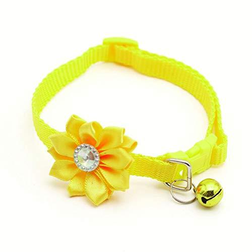 LPOQW Pet Collar Colorful Flowers Bells Dog Collar Puppy Cat Collars Adjustable Dog Collar Necklace Pet Decor Supplies Accessories,Yellow