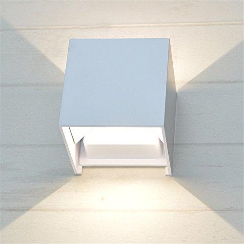 Amadoierly Lampe Murale aluminium led étanche extérieur Balcon allée Square Garden Hôtel Chambre chevet Engineering/10X10X10cm,blanc 12W