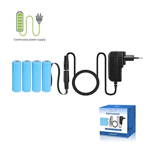 LANMU Netzteil Adapter Netzadapter Batterieadapter Zubehör Batterieersatz für 4 Stk. AA Batterien (EU Stecker, NICHT für externe Blitzgerät)