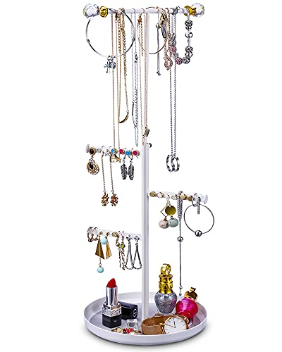 Keebofly Jewelry Tree Stand Organizer - Metal Necklace Organizer Display with Adjustable Height for Necklaces Bracelet Earrings and Ring White