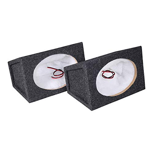 Atrend Pro Audio Tuned Speaker Enclosures Set of 2 (6 x 9 Inch) High-Grade 5/8 Inch MDF Reduces Rattles and Improves Sound Quality - Nickel Finish Speaker Terminals 18 Gauge Audio Cables