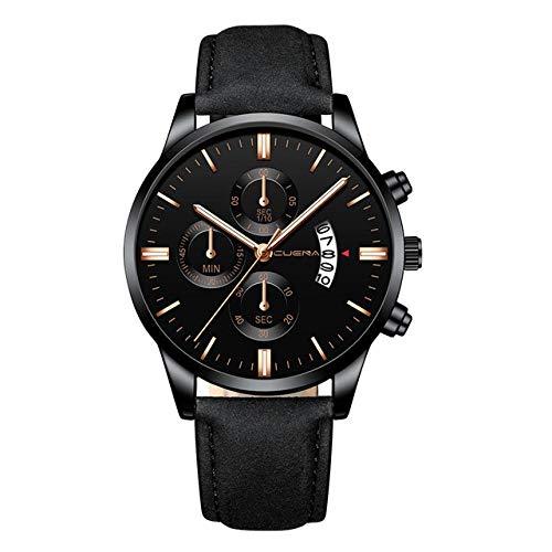 CHFYG - Reloj de pulsera para hombre, de acero inoxidable, correa de cuero, reloj de cuarzo