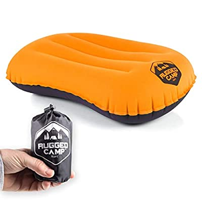 Camping Pillow - Inflatable Travel Pillows - Multiple Colors - Compressible, Lightweight, Ergonomic Head Neck Support Camping Plane Travel - Lumbar Back Support (Orange/Black)