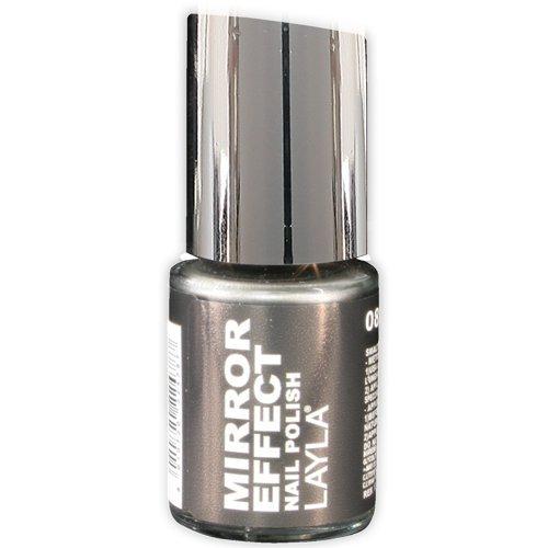 Layla Cosméticos Esmalte de Uñas, Efecto Espejo, Tono 08 Black As Ebony - 10 ml